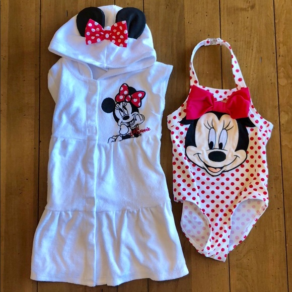 a777013147 Disney Other - Minnie Mouse Swimsuit & Cover Up by Disney - 4T